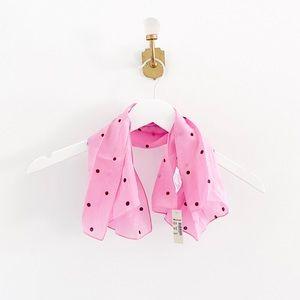 Madewell 100% Silk Pink Polka Dot Bandana Scarf